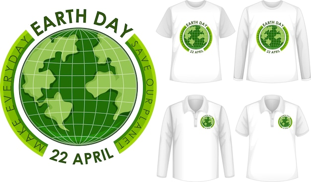 Conjunto de camisas com o ícone do dia da terra