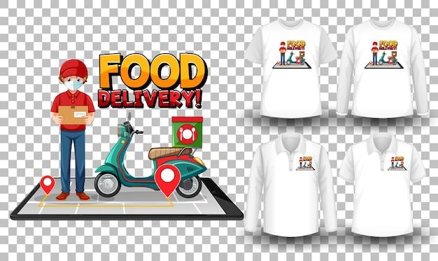 Conjunto de camisas com tema de entrega