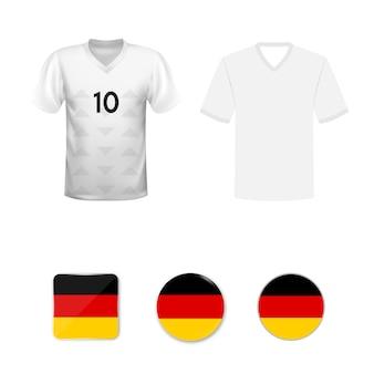 Conjunto de camisas de futebol e bandeiras da seleção da alemanha