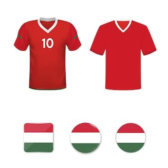 Conjunto de camisas de futebol e bandeiras da seleção da hungria