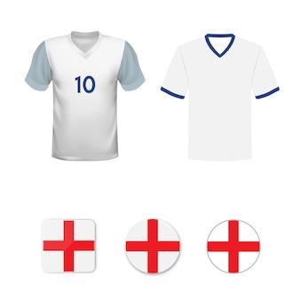 Conjunto de camisas de futebol e bandeiras da seleção da inglaterra