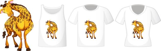 Conjunto de camisas diferentes com personagem de desenho animado de girafa isolado no fundo branco