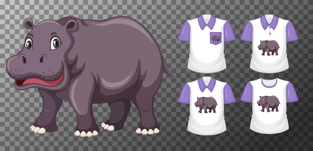 Conjunto de camisas diferentes com personagem de desenho animado de hipopótamo isolado em fundo transparente