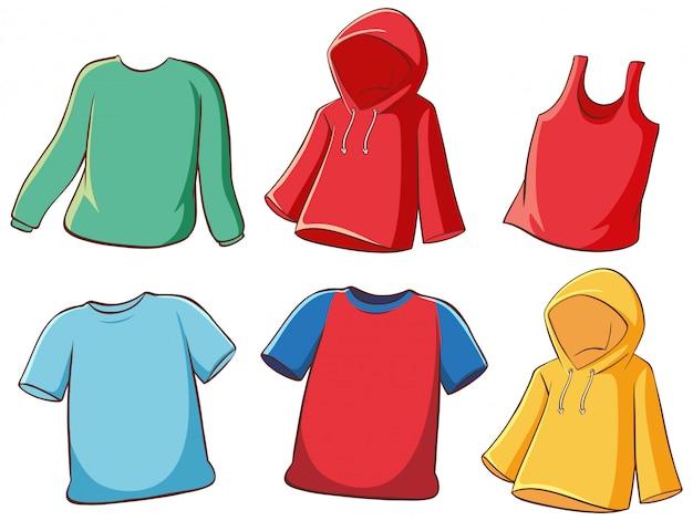 Conjunto de camisas isoladas