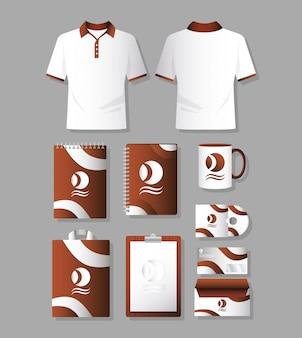 Conjunto de camisas, roupas e branding
