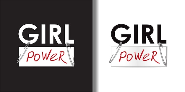 Conjunto de camisetas e estampas de moda têxtil girl power