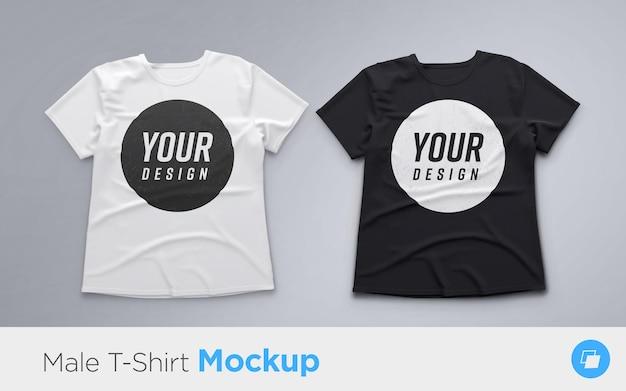 Conjunto de camisetas masculinas brancas e pretas