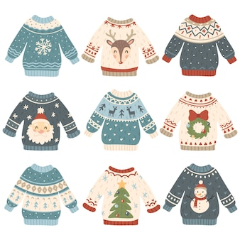 Conjunto de camisolas de natal feio