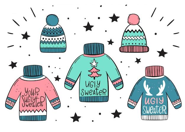 Conjunto de camisolas e chapéus quentes. estilo desenhado à mão.