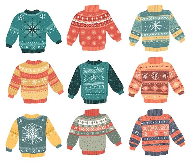 Conjunto de camisolas feias de natal.