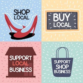 Conjunto de campanha de loja local, apoia empresas locais