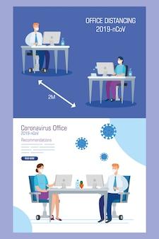 Conjunto de campanha para distanciamento social no escritório para covid-19