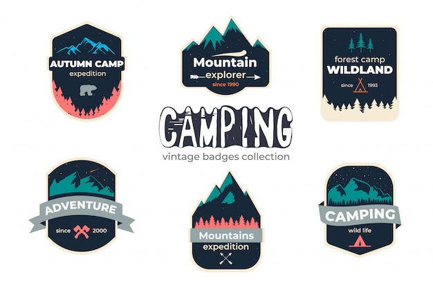 Conjunto de campismo aventura ao ar livre emblema logotipo