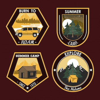 Conjunto de campismo explorar emblemas de patches de verão