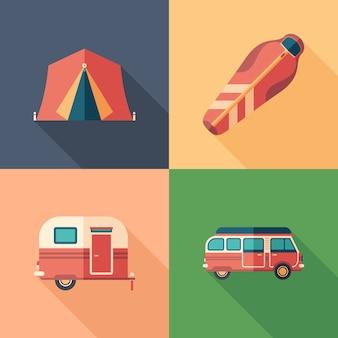 Conjunto de campismo plana ícones quadrados com longas sombras.