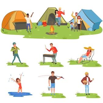 Conjunto de campistas, turistas viajando, acampando e relaxando, pescando