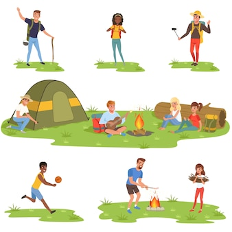 Conjunto de campistas, turistas viajando, acampando e relaxando