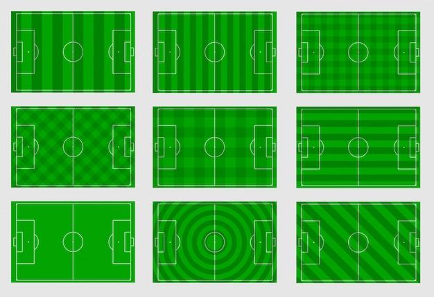 Conjunto de campos de futebol com linhas diferentes