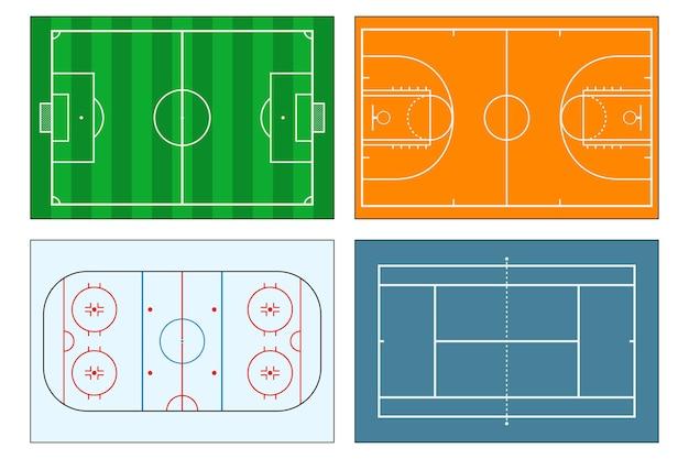 Conjunto de campos de jogos esportivos futebol ou futebol, tênis e basquete, pista de hóquei no gelo