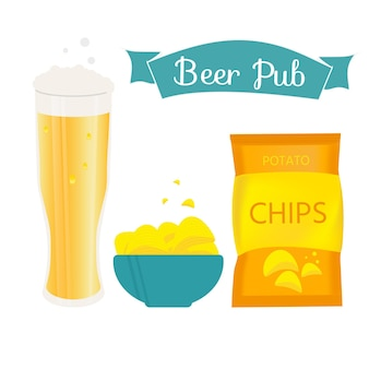 Conjunto de caneca de cerveja e lanche feito em estilo simples. cerveja light com batata frita crocante. ilustração vetorial para banners, cartazes, menu de restaurante e bar.