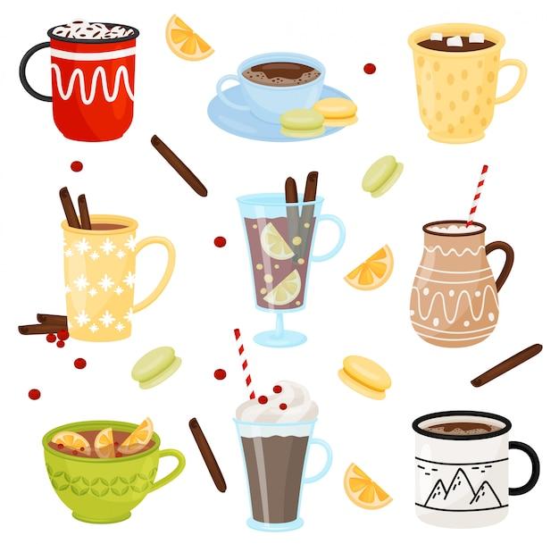 Conjunto de canecas com bebidas quentes. café com paus de canela, cacau com marshmallow, chá e vinho quente
