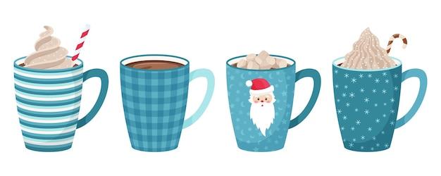 Conjunto de canecas com café, chá, chocolate com marshmallow, canudo e chantilly e cobertura decorativa. tons de azul. estilo simples.
