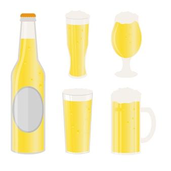 Conjunto de canecas de cerveja, garrafa e copos. ícone de vetor com bebidas alcoólicas. cerveja de trigo, lager, cerveja artesanal, ale.
