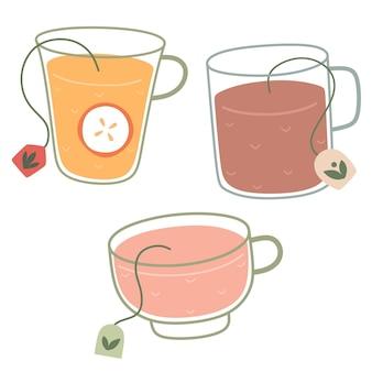 Conjunto de canecas de chá de ervas estilo doodle isolados de vetor em um fundo branco