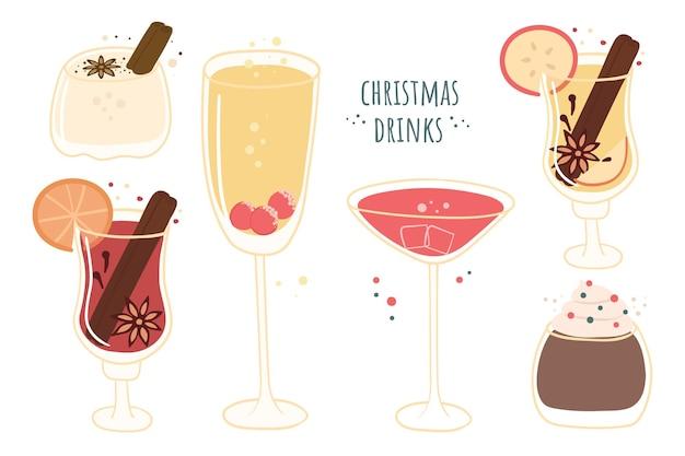 Conjunto de canecas de natal e copos com bebidas