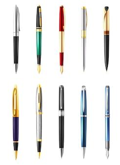 Conjunto de caneta de negócios realista