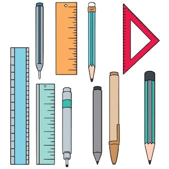 Conjunto de caneta, lápis e régua