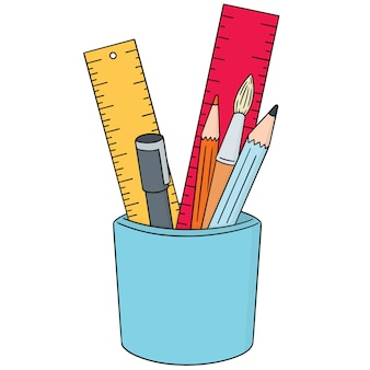 Conjunto de caneta, lápis, pincel e régua