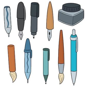 Conjunto de caneta, lapiseira e frasco de tinta