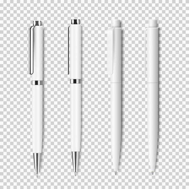 Conjunto de caneta realista branca em fundo transparente