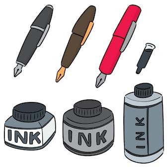 Conjunto de caneta-tinteiro e tinta