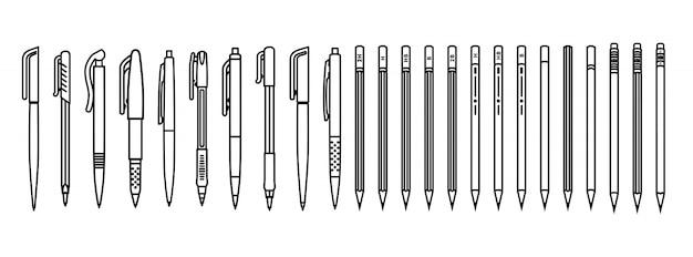 Conjunto de canetas e lápis