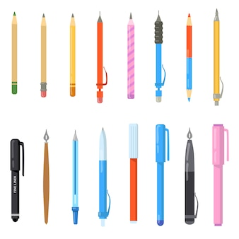 Conjunto de canetas escolares