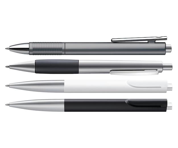 Conjunto de canetas isoladas em branco