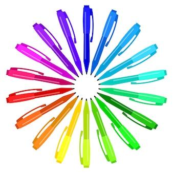 Conjunto de canetas multicoloridas colocadas em um círculo. ilustração vetorial.