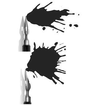 Conjunto de canetas-tinteiro derramando tinta escura, estilo realista ilustrado