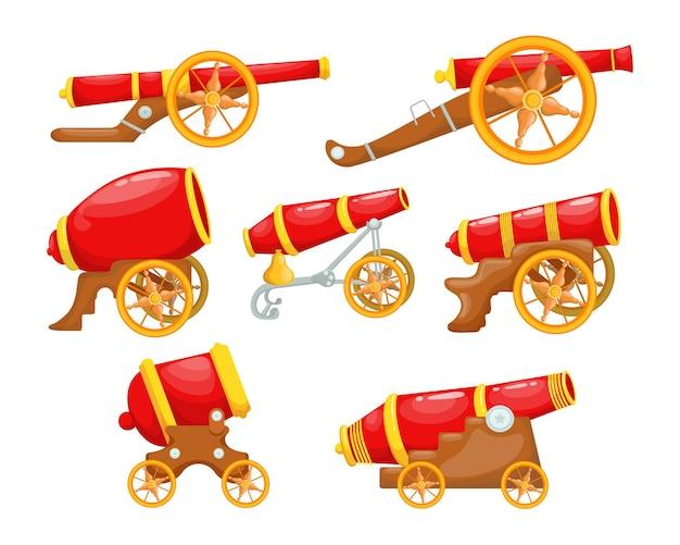 Conjunto de canhões vermelhos de desenho animado