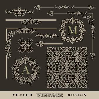 Conjunto de cantos caligráficos antigos, bordas e molduras