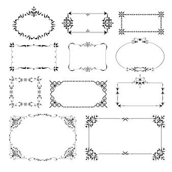 Conjunto de cantos de design decorativo