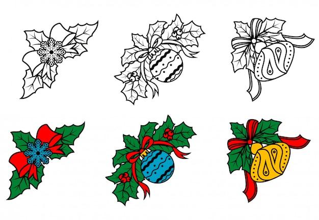 Conjunto de cantos decorativos de natal