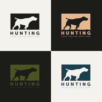 Conjunto de cão de caça silhueta estilo logotipo vetor design modelo simples criativo logotipo de caçador ao ar livre