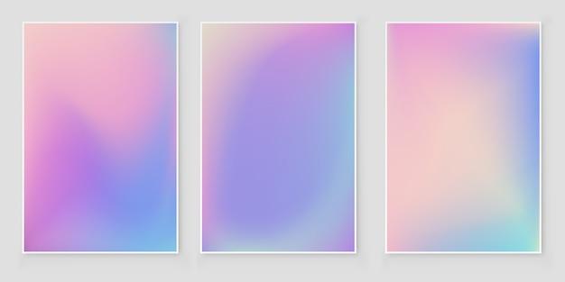 Conjunto de capa abstrata de capa holográfica gradiente de folha holográfica