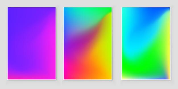 Conjunto de capa abstrata gradiente de cores brilhantes