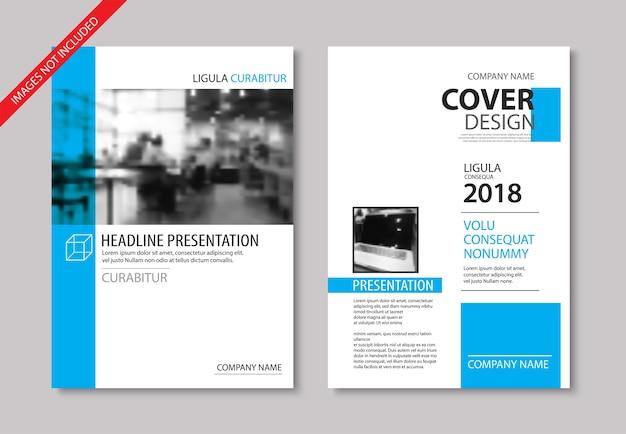 Conjunto de capa azul e brochura de layout
