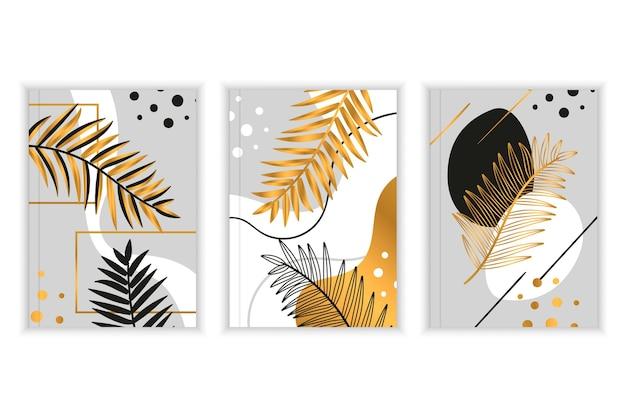 Conjunto de capa botânica dourada
