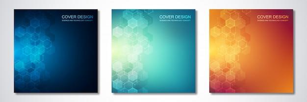 Conjunto de capa brilhante hexágono